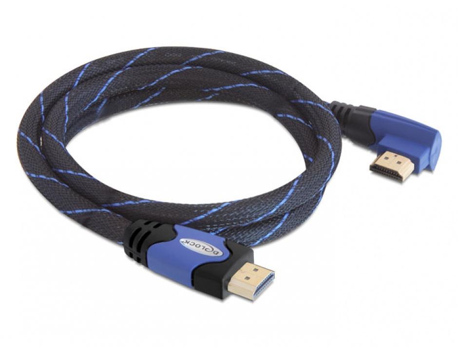Imagine Cablu HDMI 4K v1.4 unghi 90 grade T-T 3m albastru, Delock 82957