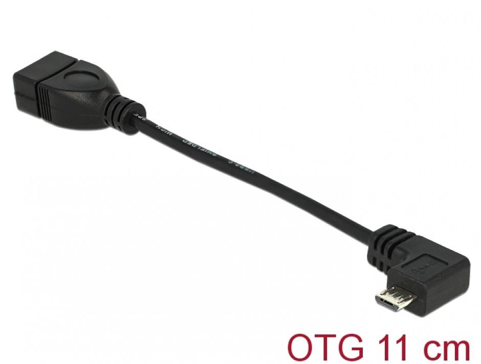 Imagine Cablu OTG USB 2.0 la micro USB-B in unghi 11cm, Delock 83104
