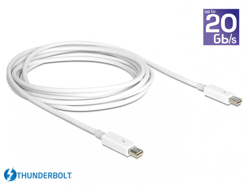 Imagine Cablu Thunderbolt 2 T-T 3m Alb, Delock 83168
