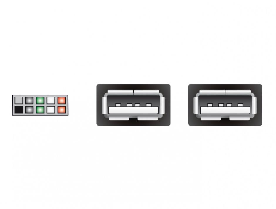 Imagine Cablu USB 2.0 A intern la 2 x USB A M, Delock 83292