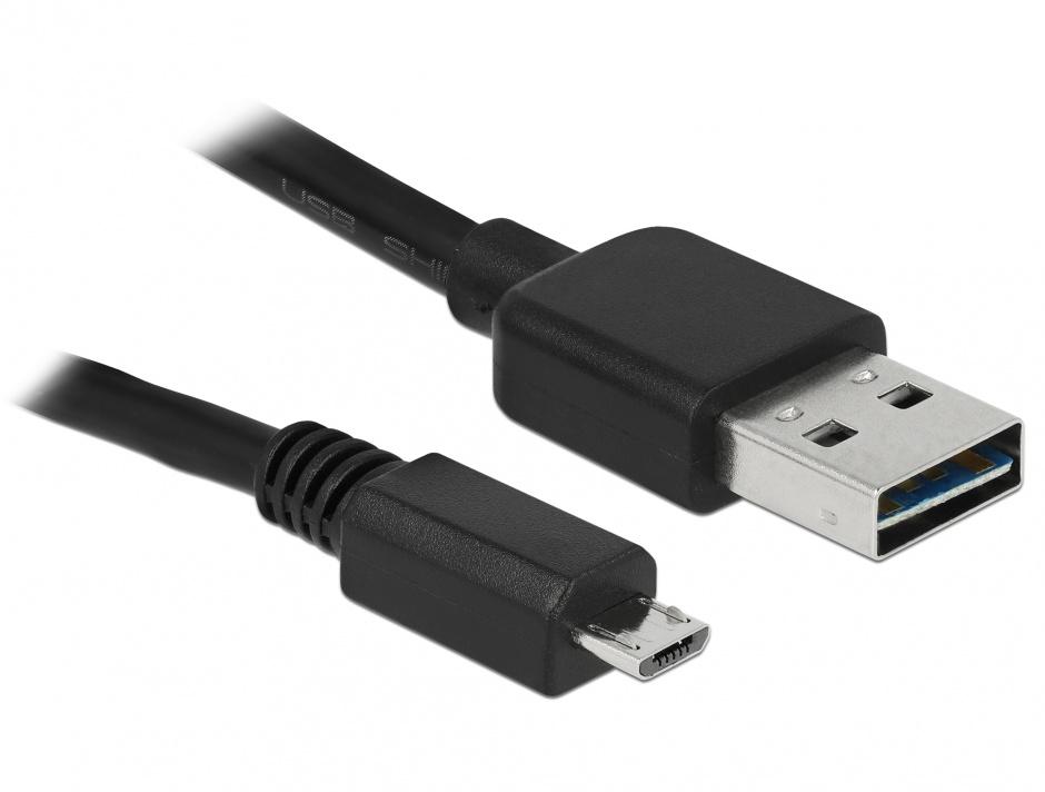 Imagine Cablu EASY-USB 2.0-A la micro USB 2.0-B T-T 1 m, Delock 83366