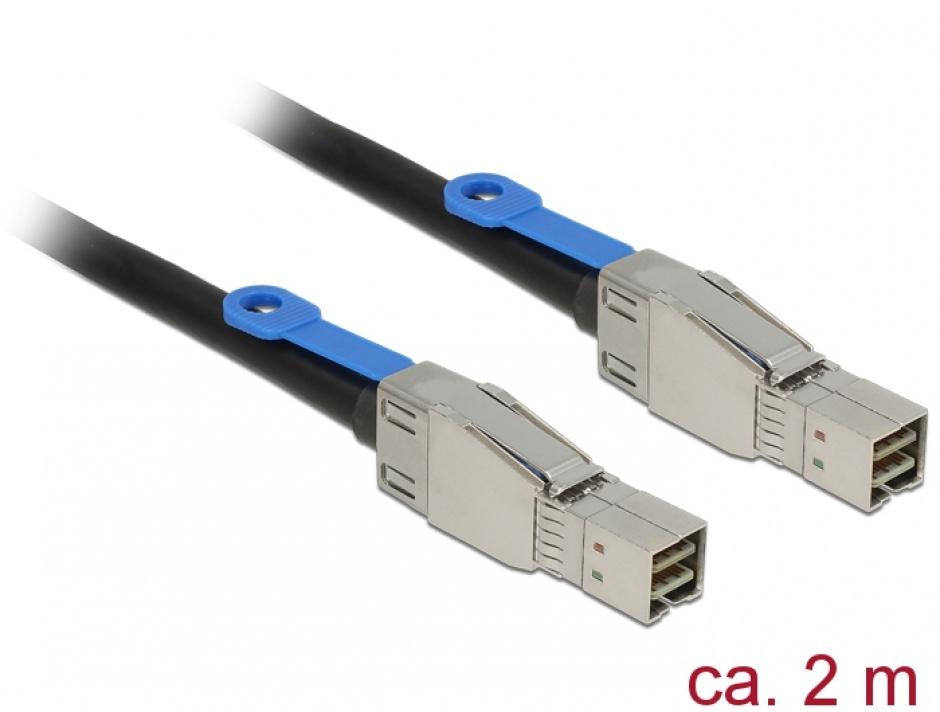 Imagine Cablu Mini SAS HD SFF-8644 la Mini SAS HD SFF-8644 2m, Delock 83395