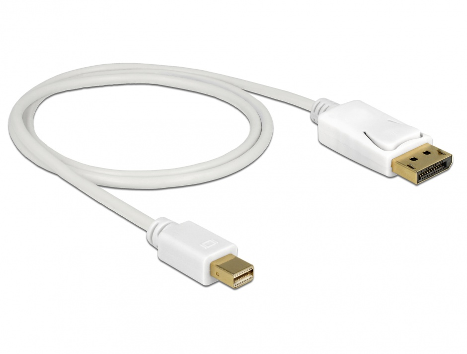 Imagine Cablu Mini Displayport la Displayport T-T 4K Alb 1m, Delock 83481