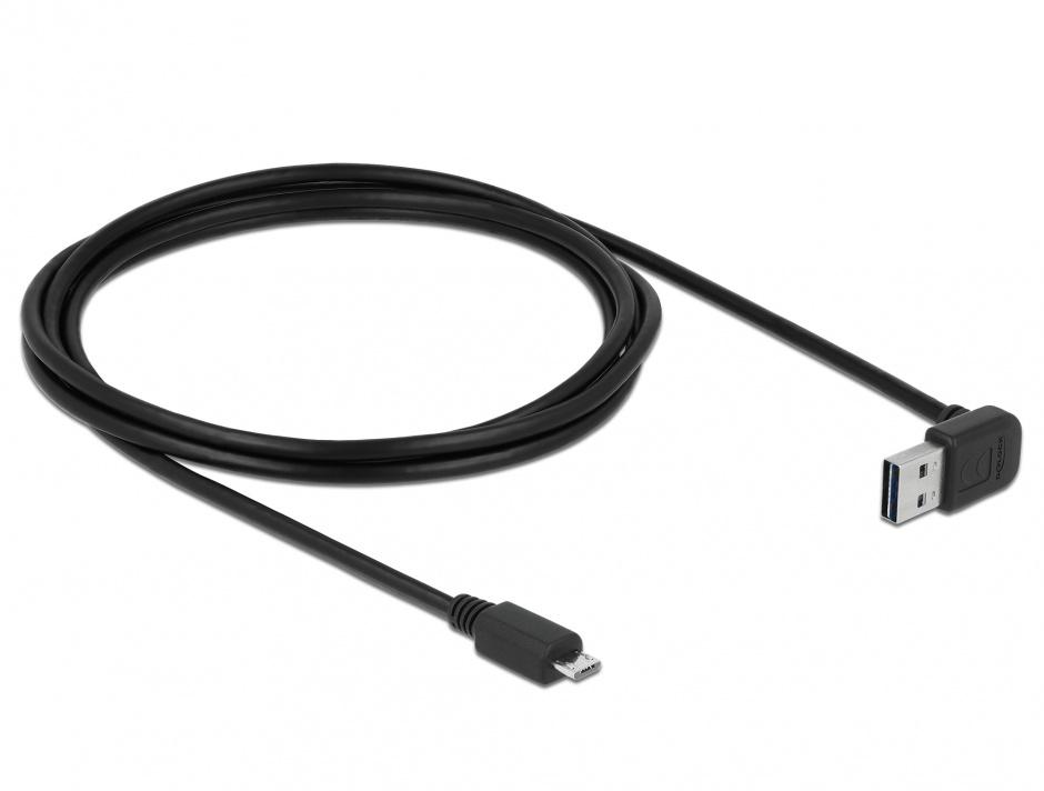 Imagine Cablu EASY-USB 2.0 tip A unghi sus/jos la micro USB-B T-T 1m Negru, Delock 83535