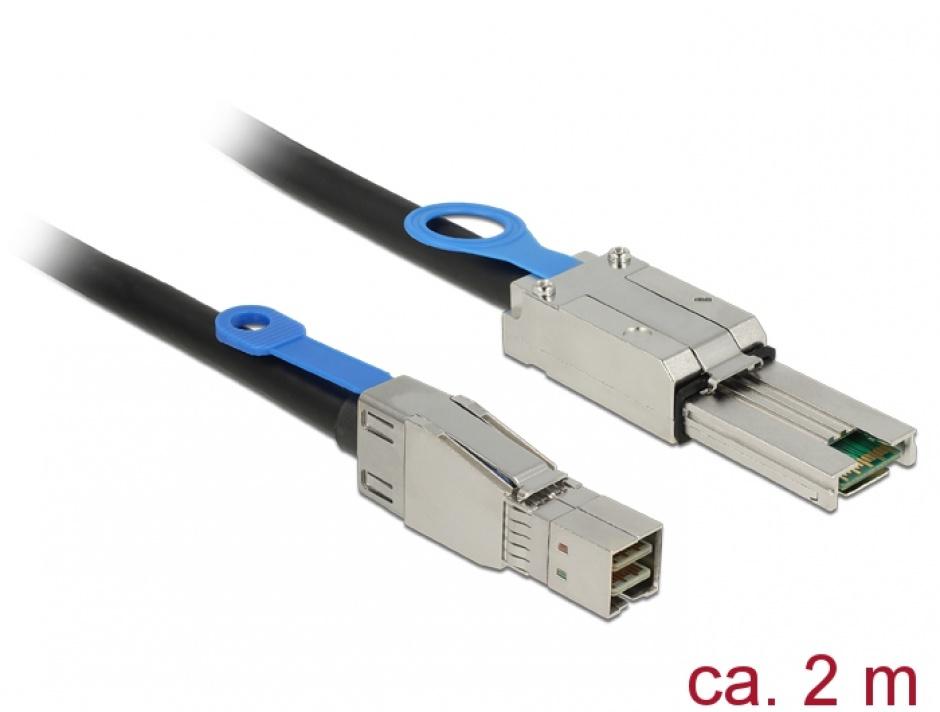 Imagine Cablu Mini SAS HD SFF-8644 la Mini SAS SFF-8088 2m, Delock 83572