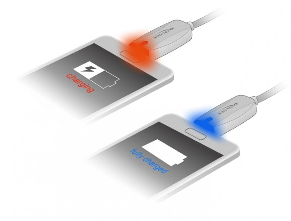 Imagine Cablu de date + incarcare USB la micro USB-B 2.0 cu LED 1m, Delock 83573
