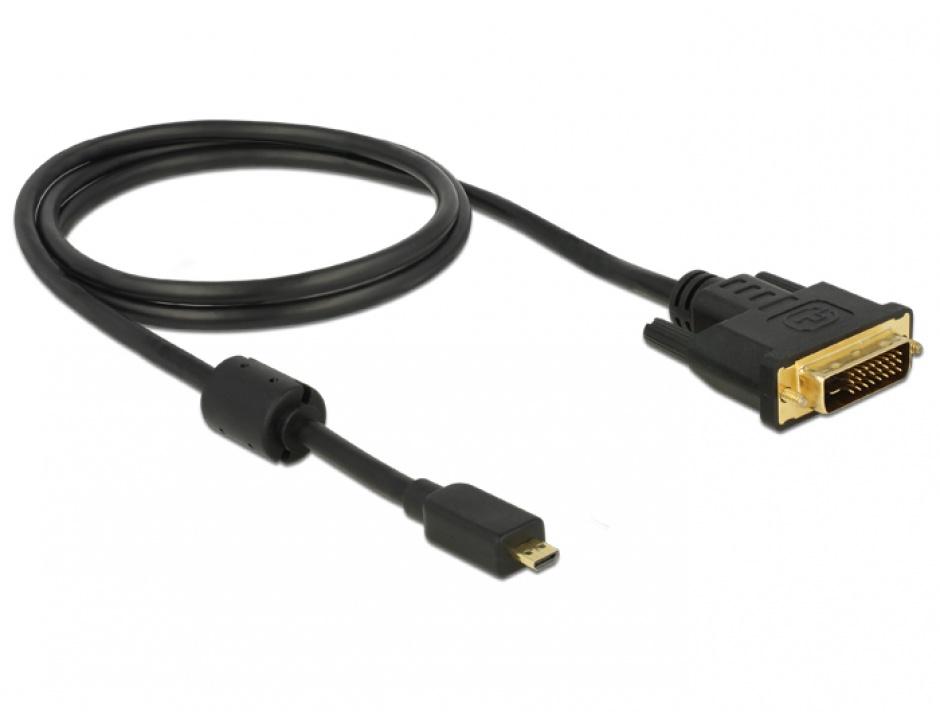Imagine Cablu Mini-C HDMI la DVI T-T 2m Negru, Delock 83583