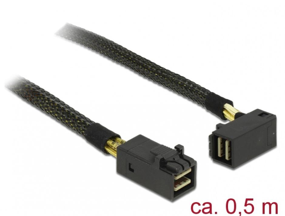Imagine Cablu Mini SAS HD SFF-8643 la Mini SAS HD SFF-8643 unghi  0.5m, Delock 83621