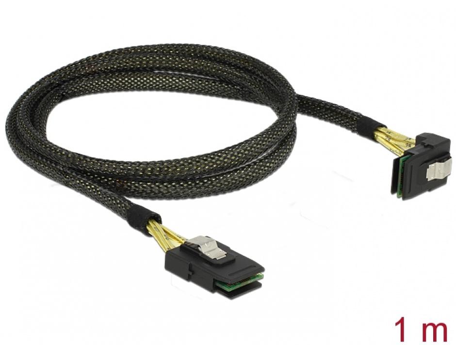 Imagine Cablu Mini SAS SFF-8087 la Mini SAS SFF-8087 unghi 90 grade 1m, Delock 83642