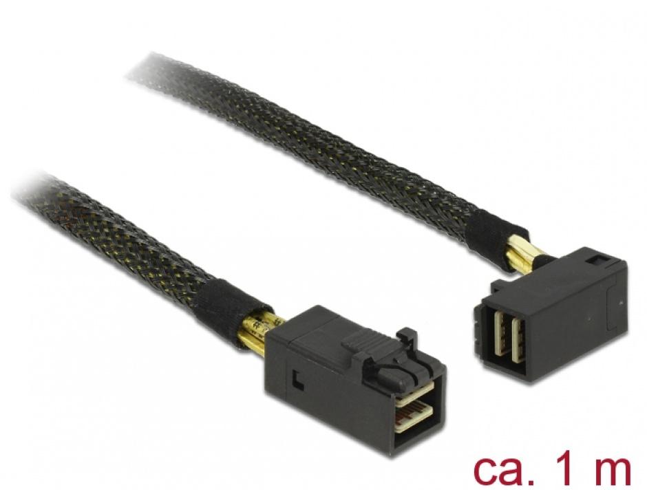 Imagine Cablu Mini SAS HD SFF-8643 la Mini SAS HD SFF-8643 unghi 90 grade 1m, Delock 83643
