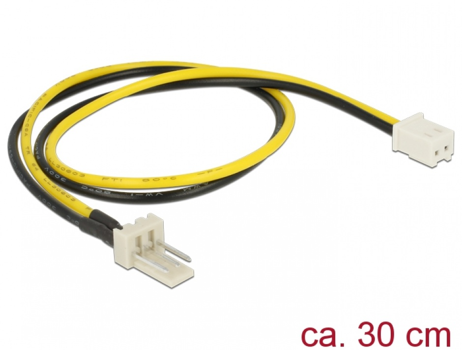 Imagine Cablu alimentare ventilator 2 pini la 3 pini M-T 30cm, Delock 83655