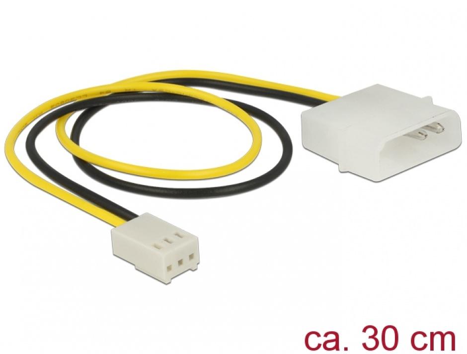 Imagine Cablu de alimentare Molex la ventilator 3 pini T-M 30cm, Delock 83659