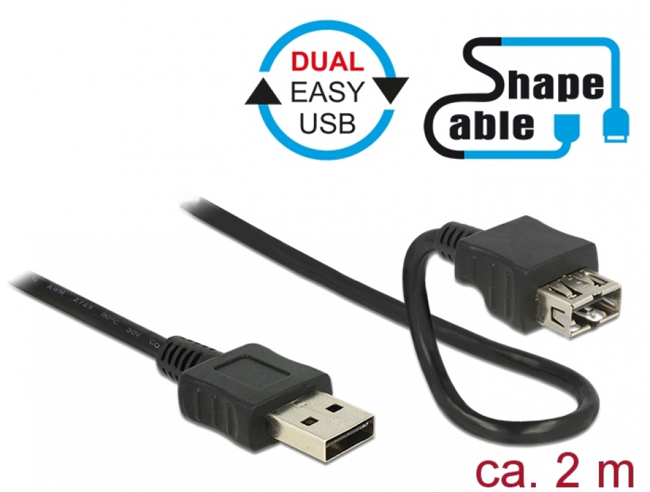 Imagine Cablu EASY-USB 2.0-A T-M Shape Cable 2m Negru, Delock 83665
