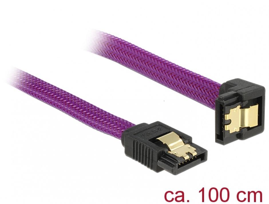 Imagine Cablu SATA III 6 Gb/s 100cm drept/unghi  Premium, Delock 83697