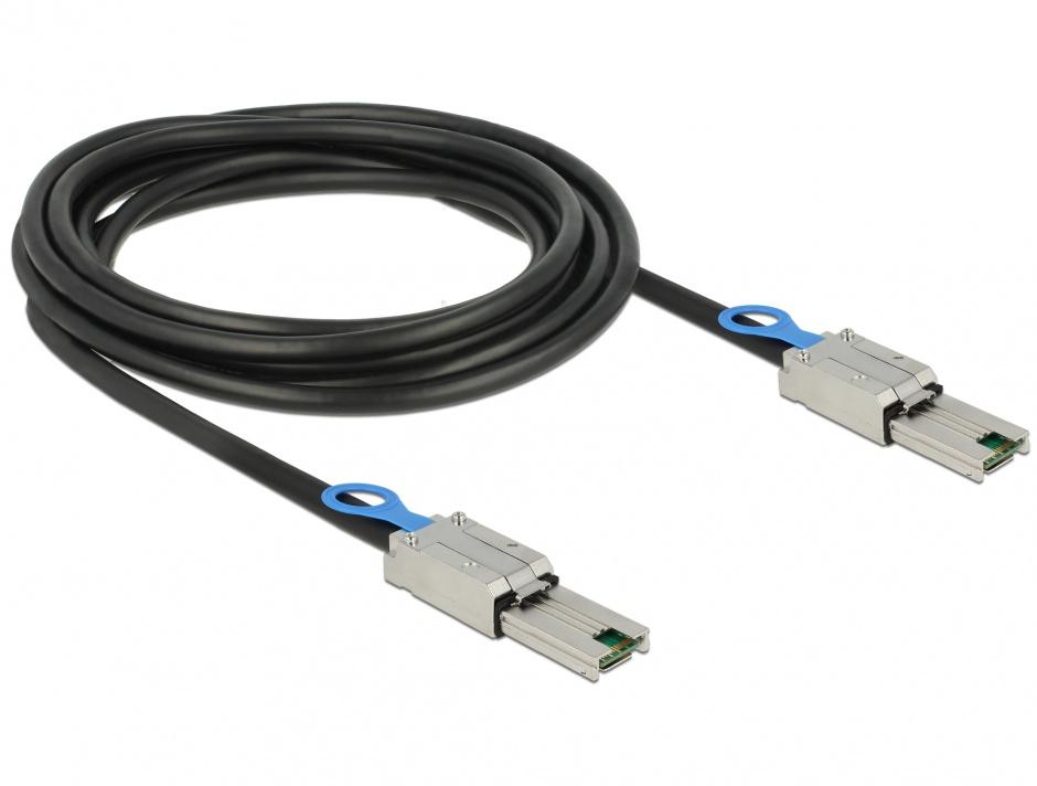 Imagine Cablu Mini SAS SFF-8088 la Mini SAS SFF-8088 3m, Delock 83736