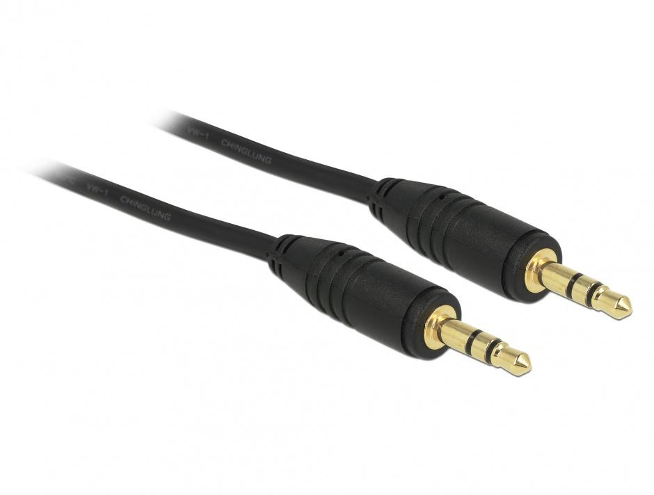 Imagine Cablu stereo jack 3.5mm 3 pini Negru T-T 1m, Delock 83744