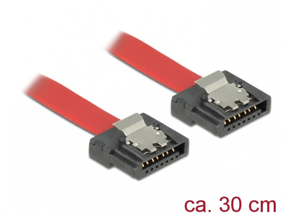Imagine Cablu SATA III FLEXI 6 Gb/s 30 cm Rosu metal, Delock 83834