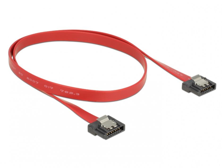 Imagine Cablu SATA III FLEXI 6 Gb/s 50 cm Rosu metal, Delock 83835