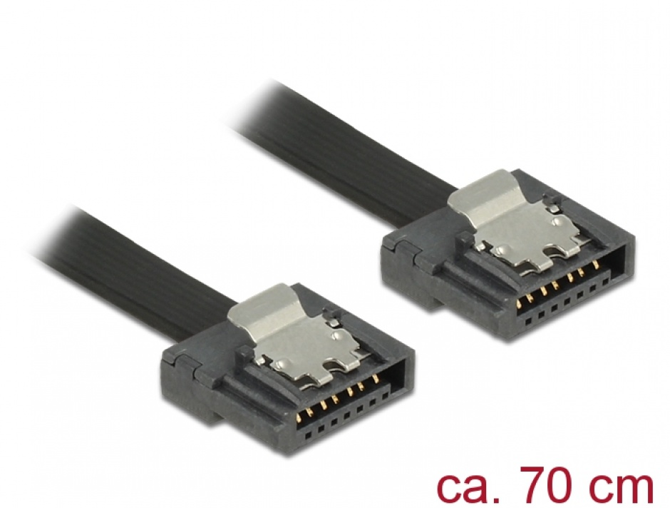 Imagine Cablu SATA III FLEXI 6 Gb/s 70 cm black metal, Delock 83842