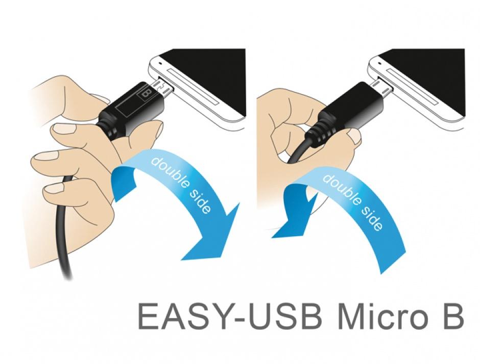 Imagine Cablu EASY-USB 2.0-A la EASY-Micro USB 2.0 unghi T-T stanga/dreapta 1m, Delock 83846
