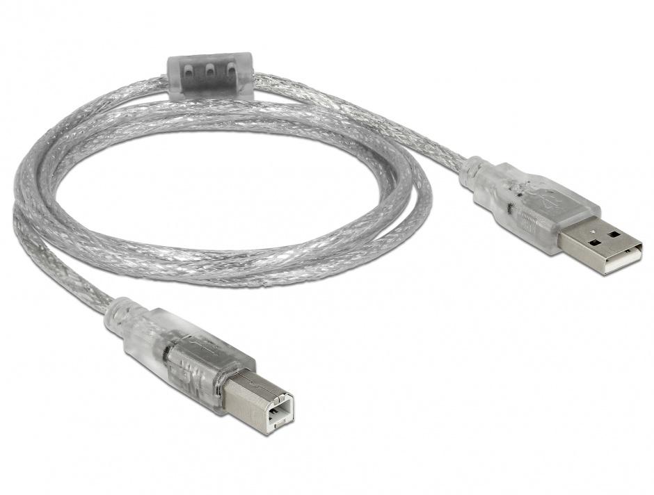 Imagine Cablu USB 2.0 tip A-B cu ferita 1.5m transparent, Delock 83893