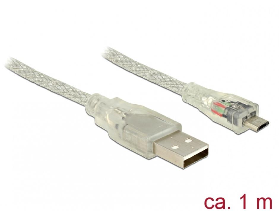 Imagine Cablu USB la micro USB-B 2.0 1m transparent, Delock 83898