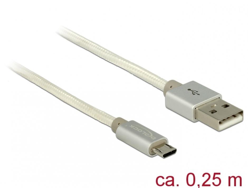 Imagine Cablu de incarcare + date micro USB-B la USB 2.0 T-T Alb 0.25m, Delock 83914