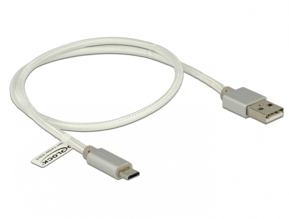 Imagine Cablu de incarcare + date micro USB-B la USB 2.0 T-T Alb 0.5m, Delock 83915