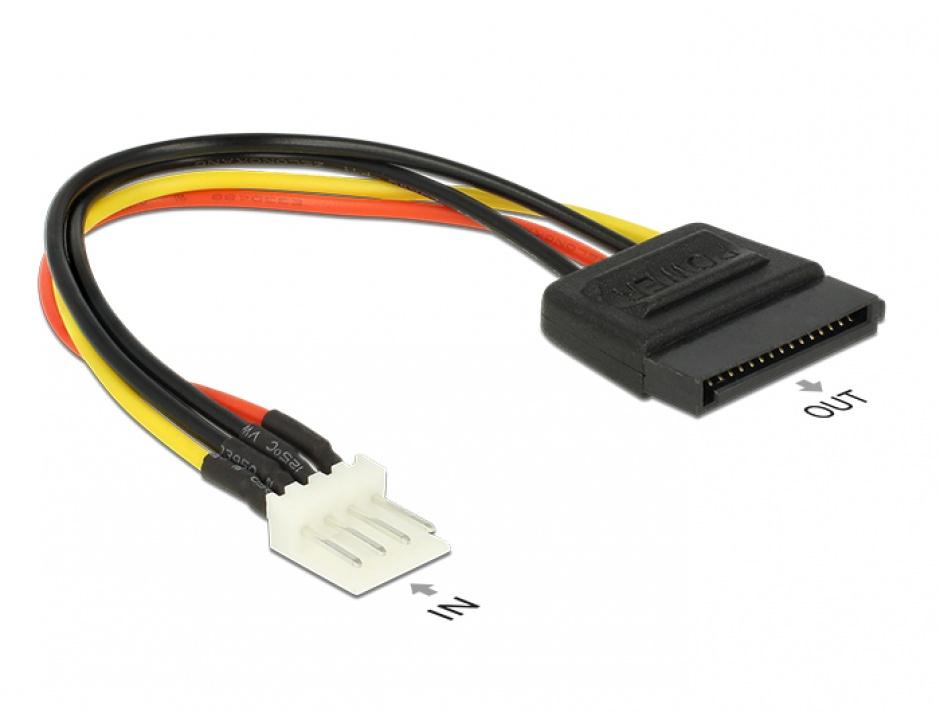 Imagine Cablu alimentare SATA 15 pini la 4 pini floppy M-T 15 cm, Delock 83918
