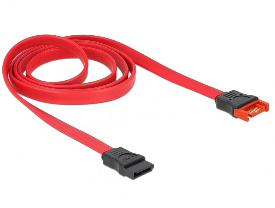 Imagine Cablu prelungitor SATA III 6 Gb/s date 100cm rosu, Delock 83956
