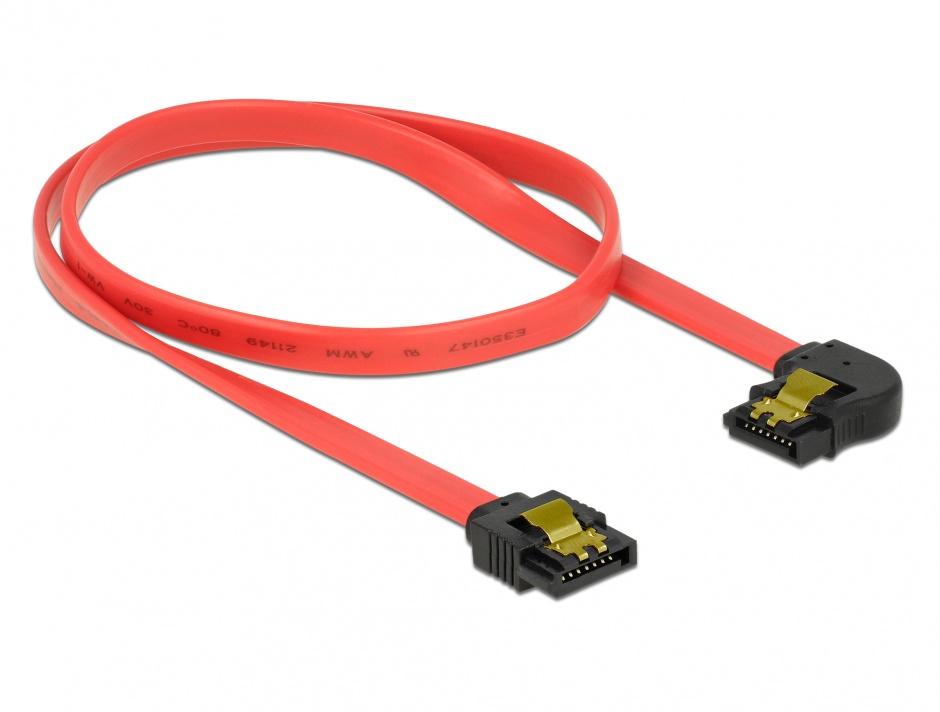 Imagine Cablu SATA III 6 Gb/s drept-unghi cu fixare Rosu 50cm, Delock 83964