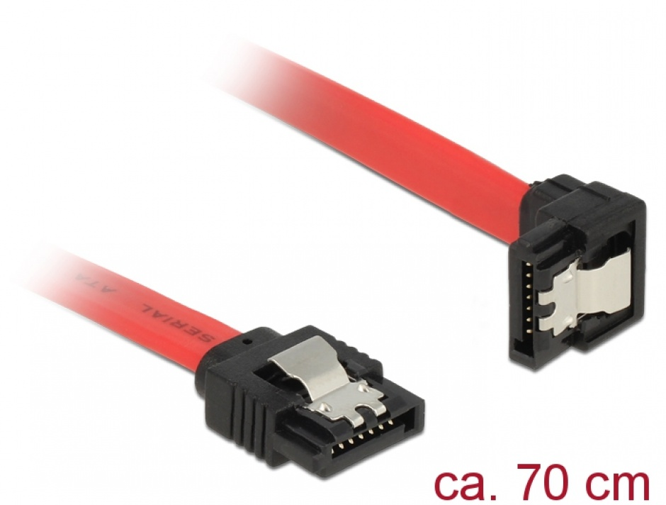 Imagine Cablu SATA III 6 Gb/s drept-unghi jos cu fixare rosu 70cm, Delock 83980