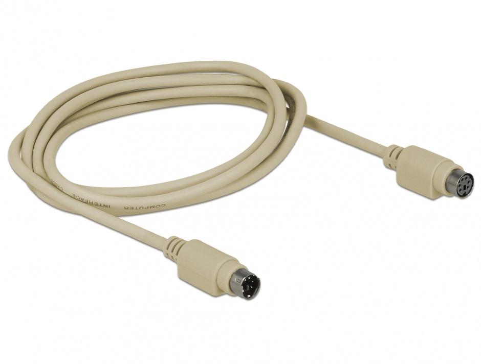Imagine Cablu prelungitor PS/2 T-M 1.8m Gri, Delock 84070