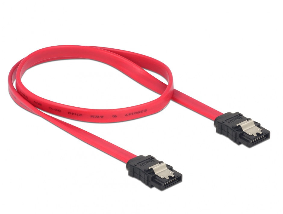 Imagine Cablu SATA II 3 Gb/s cu fixare 50cm, Delock 84302