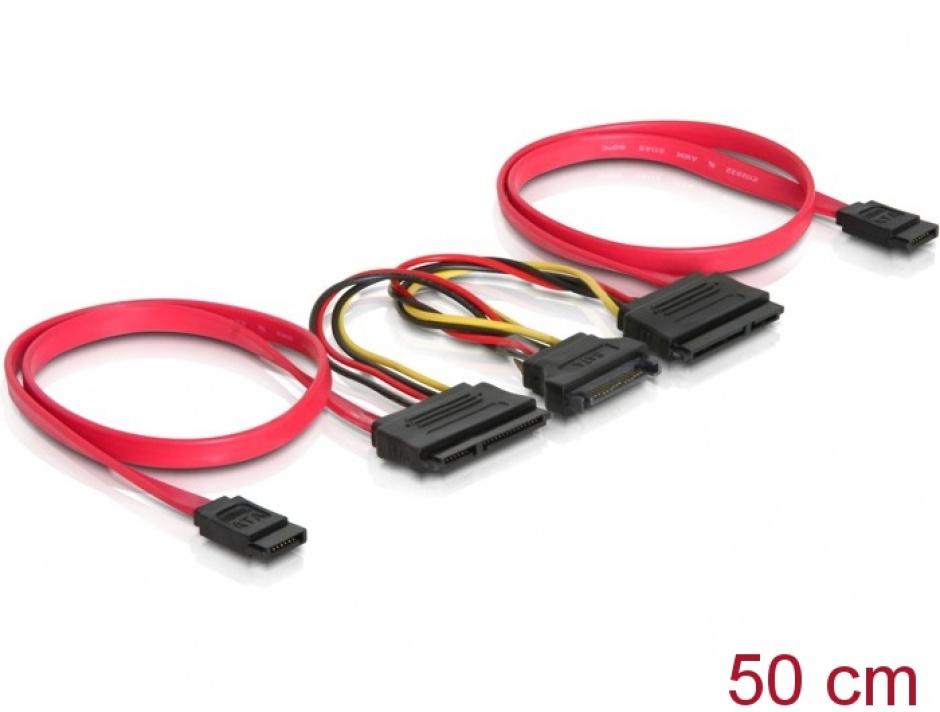 Imagine Cablu de date + alimentare SATA pentru 2 x HDD, Delock 84356