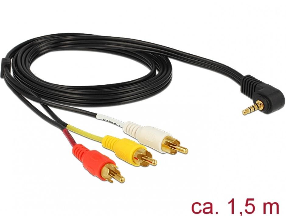 Imagine Cablu Stereo jack 3.5 mm 4 pini la 3 x RCA T-T 1.5m, Delock 84504