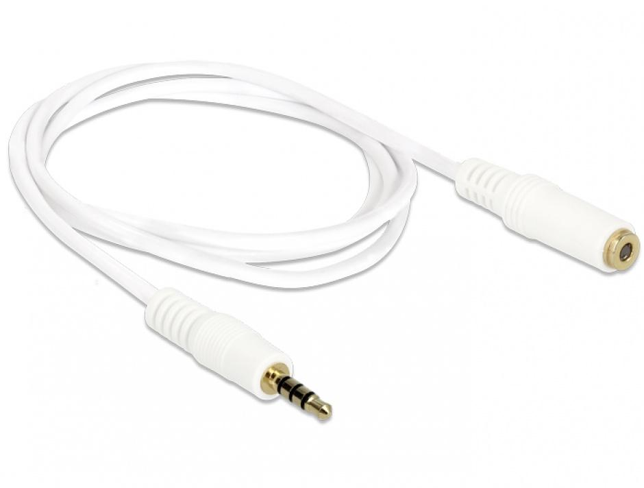Imagine Cablu prelungitor audio jack 3.5mm 4 pini T-M 0.5m, Delock 84717