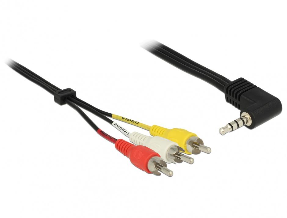 Imagine Cablu Stereo jack 3.5 mm 4 pini la 3 x RCA T-T 1.5 m, Delock 84724