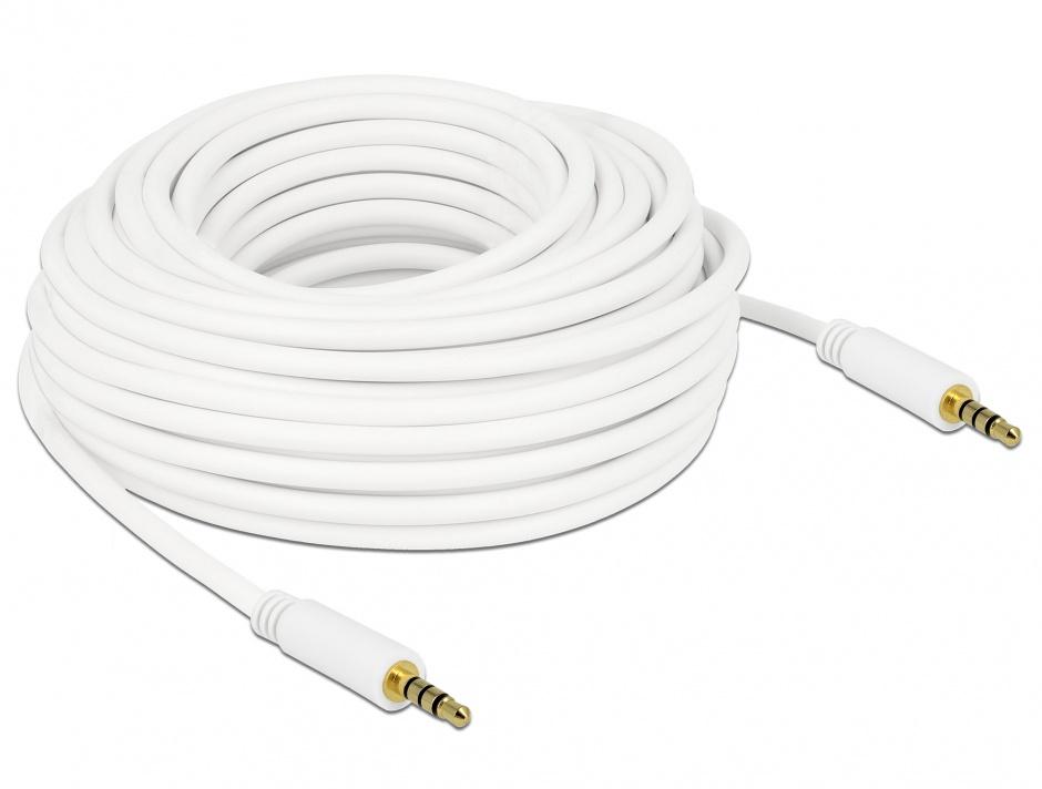 Imagine Cablu Stereo Jack 3.5 mm 4 pini 15m T-T Alb, Delock 84731