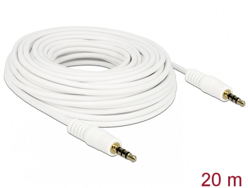 Imagine Cablu Stereo Jack 3.5 mm 4 pini 20m T-T Alb, Delock 84733