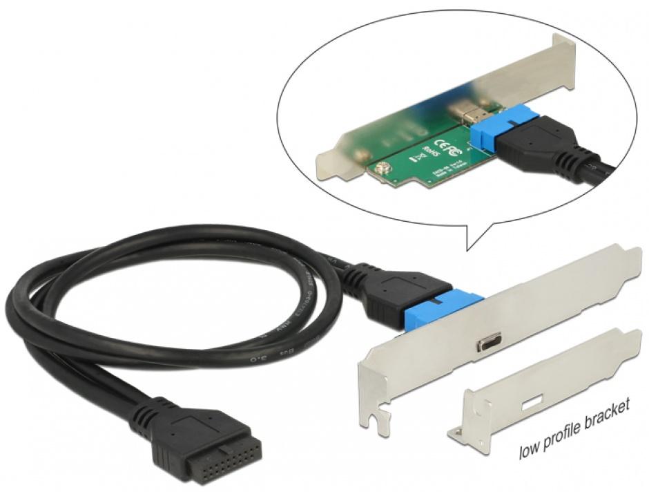 Imagine Bracket pin header USB 3.0 la 1 x USB tip C extern Low Profile, Delock 84755