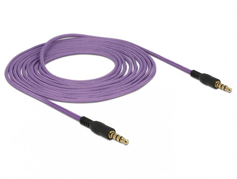 Imagine Cablu stereo jack 3.5mm 4 pini Mov T-T 3m, Delock 84759