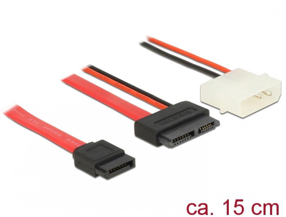 Imagine Cablu Slim SATA la SATA 7 pini + 2 pini alimentare M-T 15cm, Delock 84789