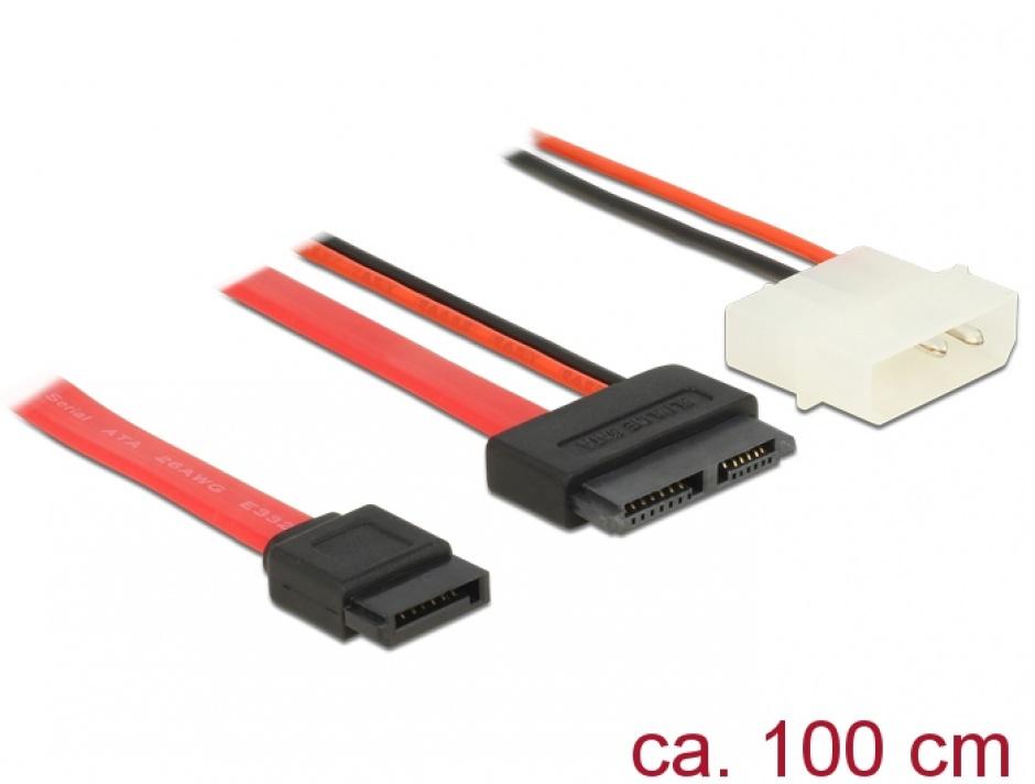 Imagine Cablu Slim SATA la SATA 7 pini + 2 pini alimentare M-T 100cm, Delock 84792