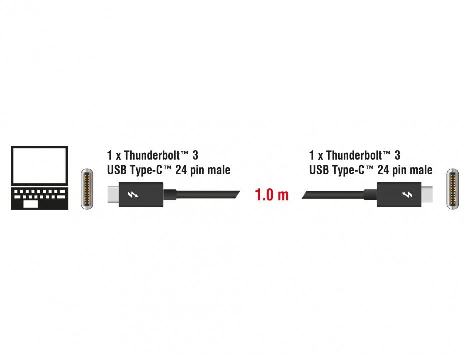 Imagine Cablu Thunderbolt 3 (20 Gb/s) USB-C pasiv T-T 1m 5A Negru, Delock 84845