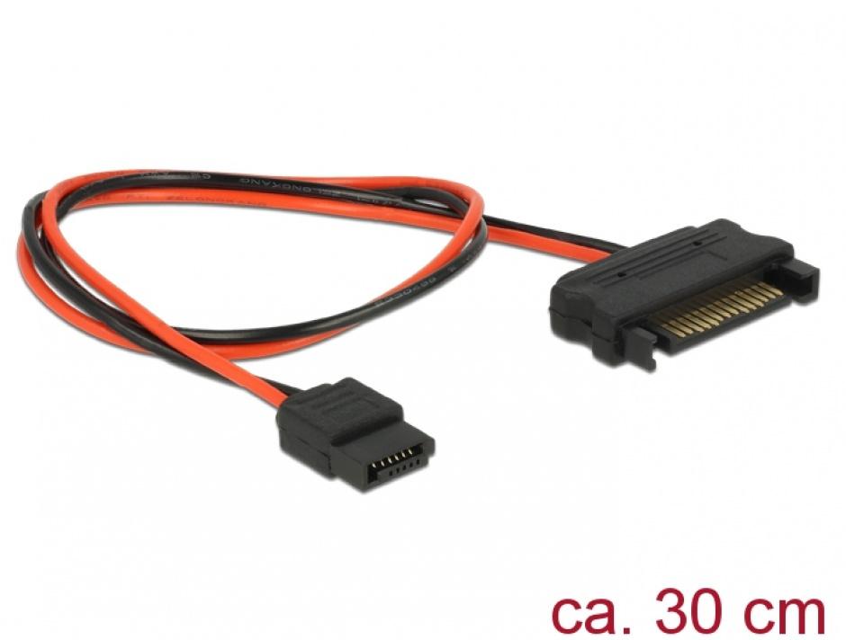 Imagine Cablu de alimentare SATA 15 pini la Slim SATA 6 pini 30cm, Delock 84875