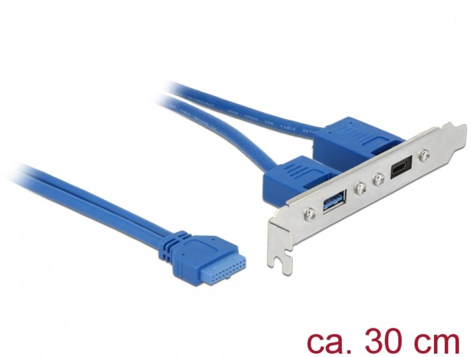 Imagine Bracket USB 3.1 pin header 19 pini mama la 1 x USB-C + 1 x USB-A, Delock 84930