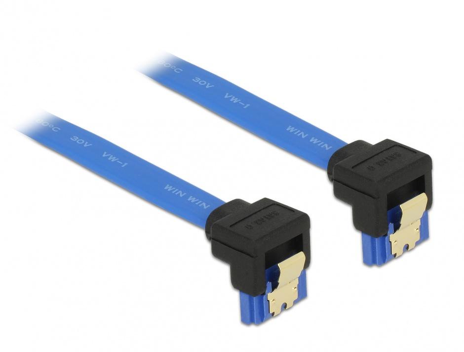 Imagine Cablu SATA III 6 Gb/s unghi jos/jos Bleu 70cm, Delock 85098