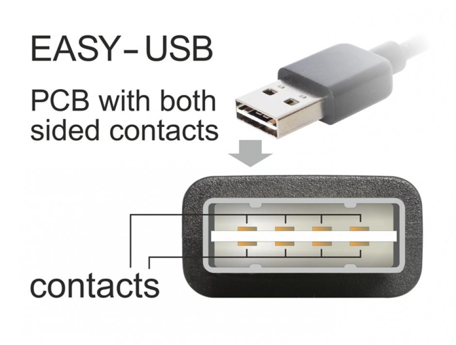 Imagine Cablu prelungitor EASY-USB 2.0 tip A unghi sus/jos T-M 0.5m Negru, Delock 85185