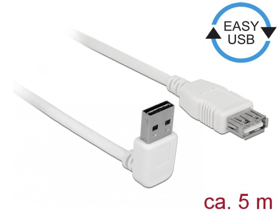 Imagine Cablu prelungitor EASY-USB 2.0 tip A unghi sus/jos T-M 5m Alb, Delock 85190